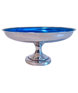 Midcentury Silver and Blue Pedestal Dish Tazza - $45.00