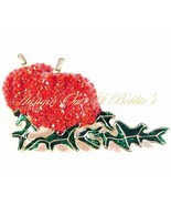 Pumpkin Pin Brooch Orange Crystal Enamel Twins ... - $24.99