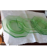 Vaseline , Green, Glass, Dinner Plates Set of 6... - $98.00