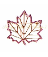 Maple Leaf Pin Brooch Purple Crystal Open Frame... - $19.99
