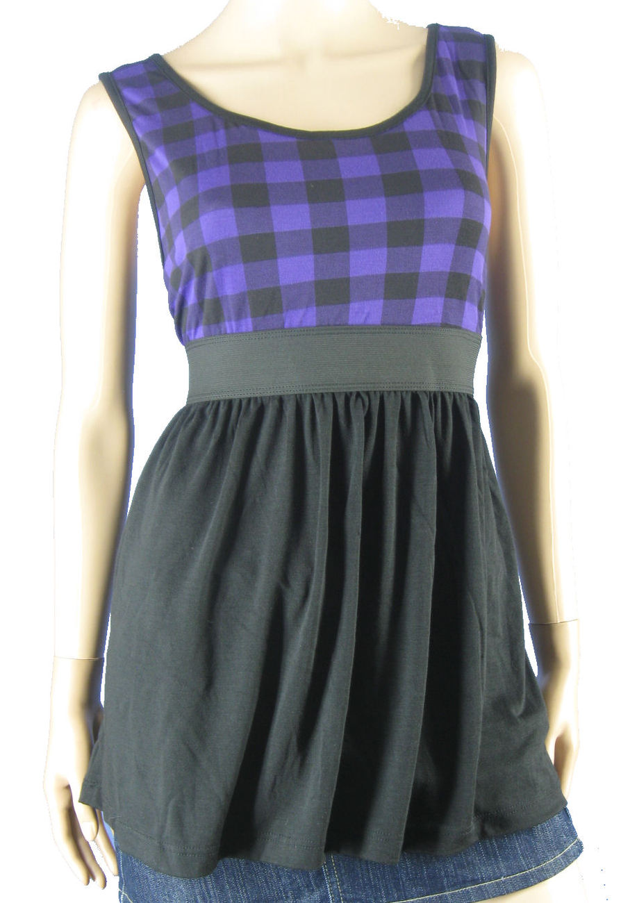 New Retro Purple Black plaid checked Long Tank top NWT 3XL 3X Junior Plus