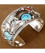 Navajo Turquoise Coral Faux Bear Claw Bracelet ... - $652.41 - $721.71