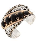 Navajo BIG BOY Row Bracelet Black Onyx Sterling... - $820.71 - $890.01