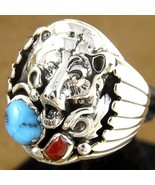 Navajo Mens Ring Turquoise Coral Sterling Silve... - $219.00