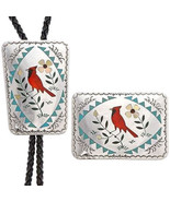 Vintage ZUNI Red Cardinal Gems Inlay Sterling B... - $1,385.01