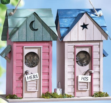 Image 0 of   His & Her Outhouses Decorative Birdhouse