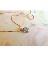 Vintage Goldtone Blue Crystal Bicone Pendant Ne... - $7.50