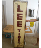 Vintage Sign Metal Lee Tires 72 x 17 inches ca.... - $604.60