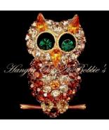 Owl Pin Brooch Gold Topaz Crystal Multicolor Pe... - $27.99