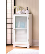 Floor Cabinet White Wood Glass Door - $80.00