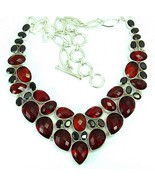 Cushion Faceted Deep Red Garnet Teardrops Sterl... - $304.26