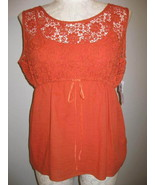 Style & Co Orange Lace Twinset Top Size 16 NWT - $22.00