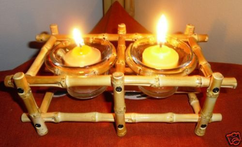 Bamboo Candle Holder-Bamboo Root -2 Votive-GREAT GIFT