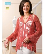 Z200 Crochet PATTERN ONLY Coral Reef Cardigan S... - $7.45