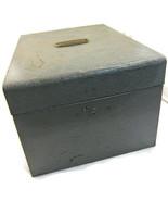 Metal File Lock Box Steel Gray Silver Vintage R... - $20.00