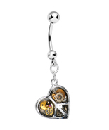 Peace and Love Steampunk Heart Dangle Belly Ring - $17.00