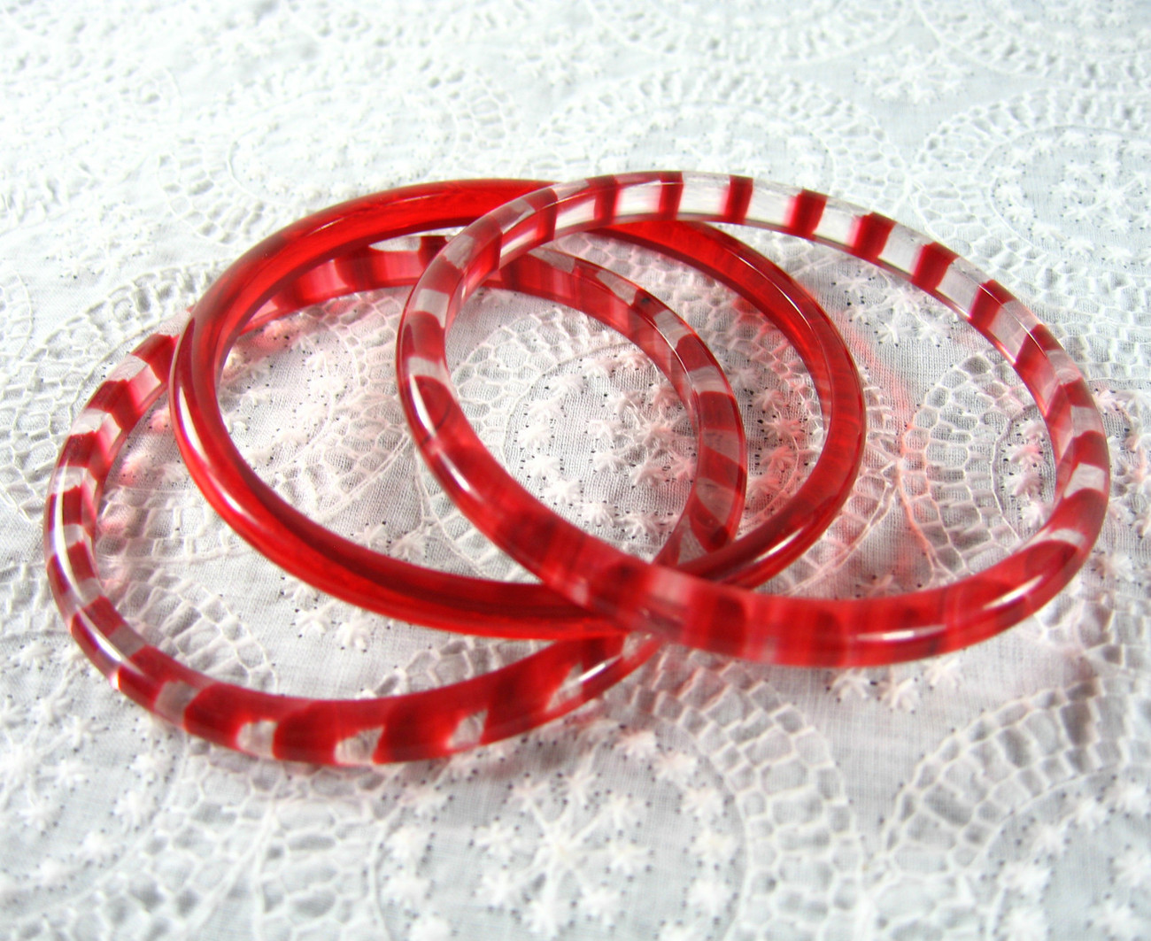 Vintage Jewelry Set- Cherry Red Clear Candy Cane Stripe Lucite Bangle Bracelets