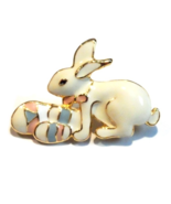 Easter Bunny Rabbit Pin Brooch Holding Eggs Off... - $7.99