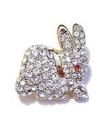 Easter Bunny Rabbit Pin Brooch Clear Austrian C... - $14.99