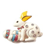 Easter Bunny Rabbit Pin Brooch Holding Eggs Whi... - $14.99