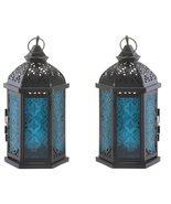 2 Blue Glass Candle Lanterns - $27.00