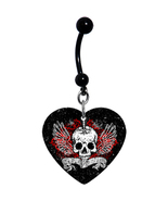 Heart Black Widow Spider Belly Ring - $20.00