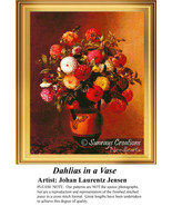 Dahlias in a Vase,  Flowers Counted Cross Stitc... - $25.00