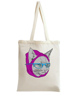 Hipster Glasses Cat  Tote Bag - $13.99