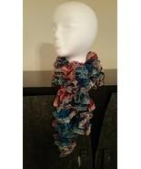 Blue & Pink Mix Ruffle Crochet Scarf - $30.00