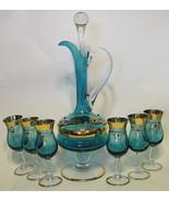 Venetian Glass Decanter & Glasses Set Wine Italian - $183.14