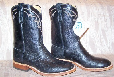 NEW ANDERSON BEAN BLACK FULL QUILL OSTRICH DRESS COWBOY BOOTS 10-1/2 D