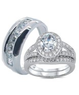His Hers Solid 925 Stelring Silver Cz Wedding R... - $59.99