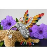 Hummingbird Bird Brooch Pin Rhinestones Enamel ... - $19.95
