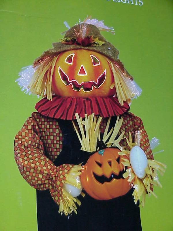 Huge 3 ft pumpkin fiber optic halloween scarecrow indoor for Fiber optic halloween decorations home