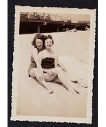 Old Vintage Antique Photograph Two Women in Bat... - $8.91