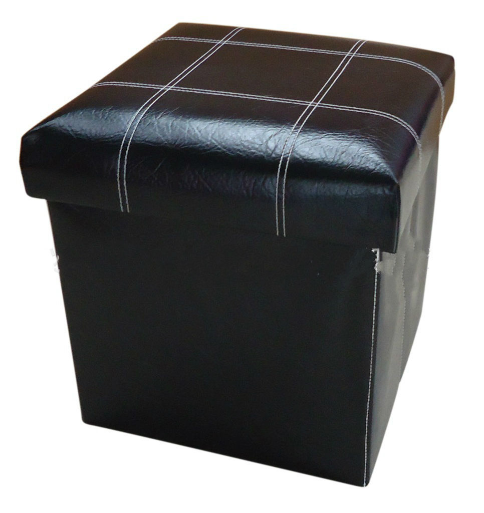 Faux leather collapsible cubic storage ottoman 15quot cube for Foot storage ottoman