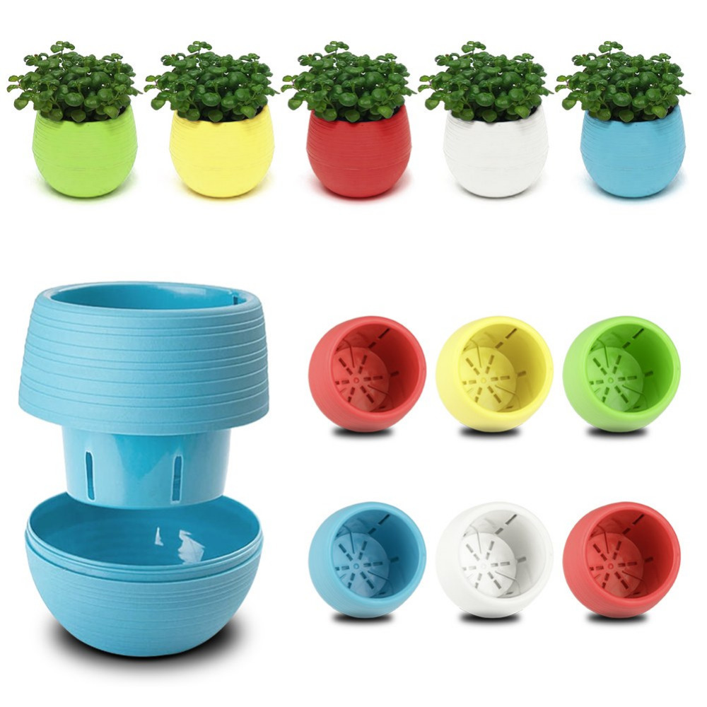 Colourful Cute Round Plastic Plant Flower Pot Home Office