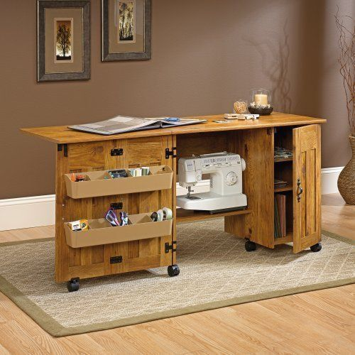 Sauder sewing and craft cart table with drop leaf amber for Craft cabinet with table