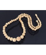 Antique Chinese Export Carved Ivory Beads Chain... - $155.00
