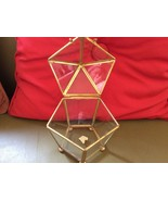 Vintage Glass CURIO Cabinet Brass Jewelry Trink... - $39.99