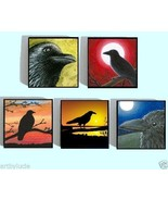 Wood Magnets set of 5 1x1 inch Birds Crow from ... - $14.99