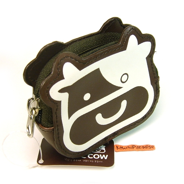 Funny Cow Coin Purse Mini Makeup Pouch Dark Brown
