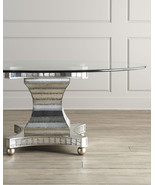 ERLINDA MIRRORED & GLASS TOP DINING TABLE,  72