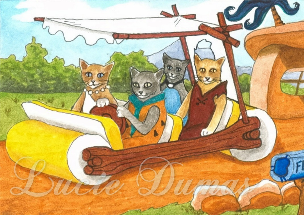 ACEO art print Cat #331 The Flintstones OE by L.Dumas