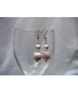 White Porcelain with a Rose Decal Earrings - $15.00