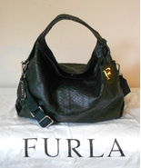 NEW FURLA HANDBAG BLACK SNAKE LEATHER ELISABETH M SHOPPER HOBO X-BODY NWT $595