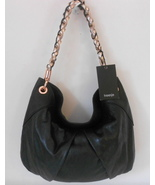 TREESJE HANDBAG BLACK ITALIAN LEATHER LYLA HOBO METALLIC LEATHER CHAIN STRAP NWT