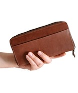 Genuine SOFT Leather DOUBLE ZIPPER Clutch Trunk... - $34.99