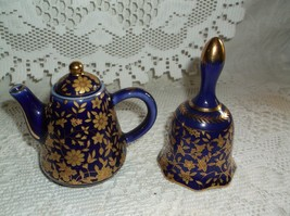 Porcelain cobalt blue gold trimmed matching bel... - $14.85