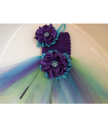 BABY GIRL PEACOCK COLORED TUTU DRESS WITH HEADB... - $22.00